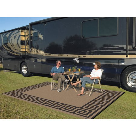 Patio Mats 9' x 12' Reversible RV Patio Mat, Indoor / Outdoor Rug, Camping Mat, Greek Key ()