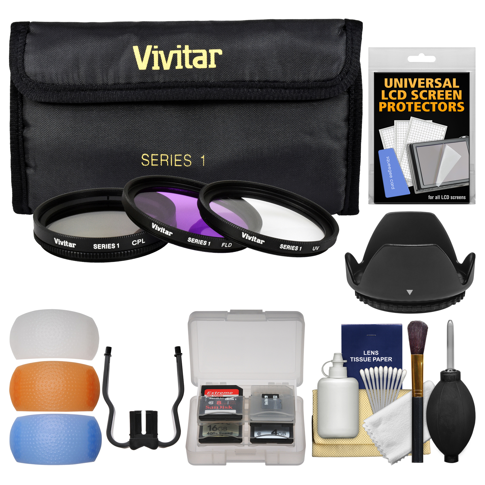 Vivitar 3-Piece Multi-Coated Glass Filter Kit (62mm UV/FLD/CPL) + Lens Hood + Camera Accessory Kit