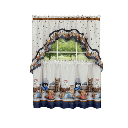 Adorable Kitchen (Adorable Puppies & Kittens Kitchen Curtain Tier & Swag Set - 24 in. Long )