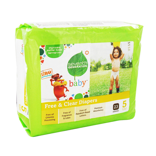 Seventh Generation Free And Clear Baby Diapers Stage 5 (27 Plus Lbs) - 23 Ea, 4 Pack
