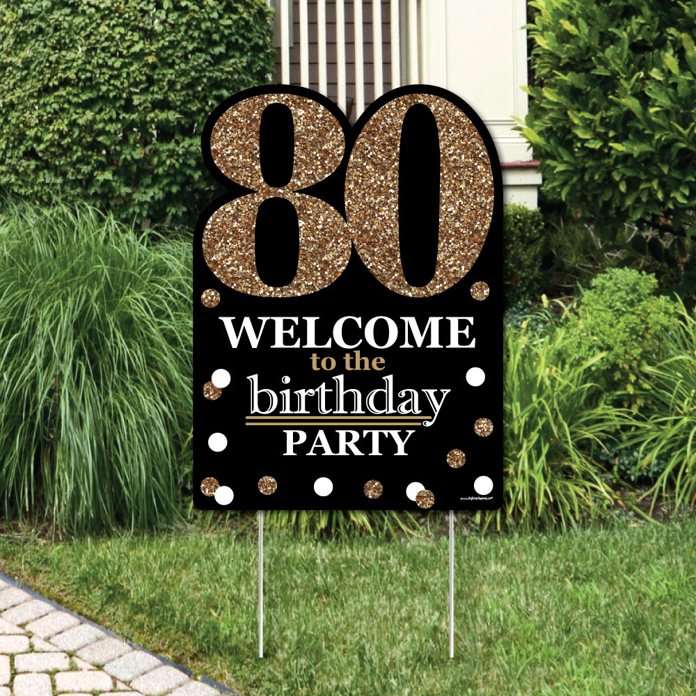 Adult 80th Birthday - Gold - Party Decorations - Birthday Party Welcome Yard Sign