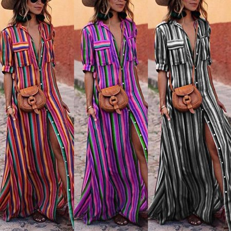 2018 Hot Sale Urkutoba Womens Summer Boho Casual Stripe Long Maxi Evening Party Cocktail Beach
