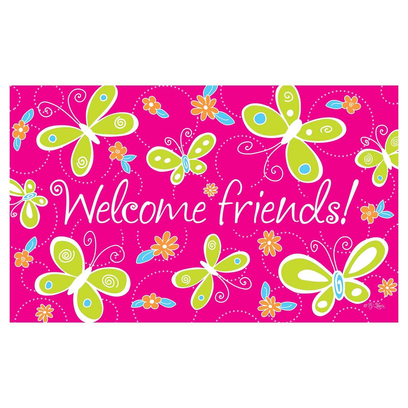 Toland Home Garden Bright Butterflies Welcome Doormat - Polyester / Rubber