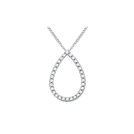 1/6 Carat Round White Natural Diamond Teardrop Pendant Necklace in 14k Gold Over Sterling Silver