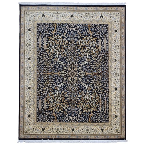 Isabelline Cranford Tree of Life Hand Woven Wool Black/Beige Area Rug