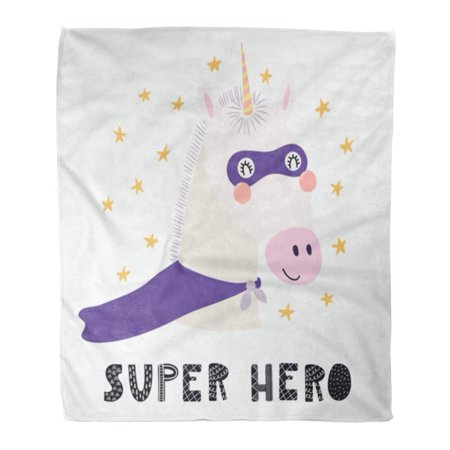 ASHLEIGH Flannel Throw Blanket Cute Funny Unicorn in Mask and Cape Lettering Quote Scandinavian Flat for Children 50x60 Inch Lightweight Cozy Plush Fluffy Warm Fuzzy (Warm And Cozy Ep 1 Eng Sub)