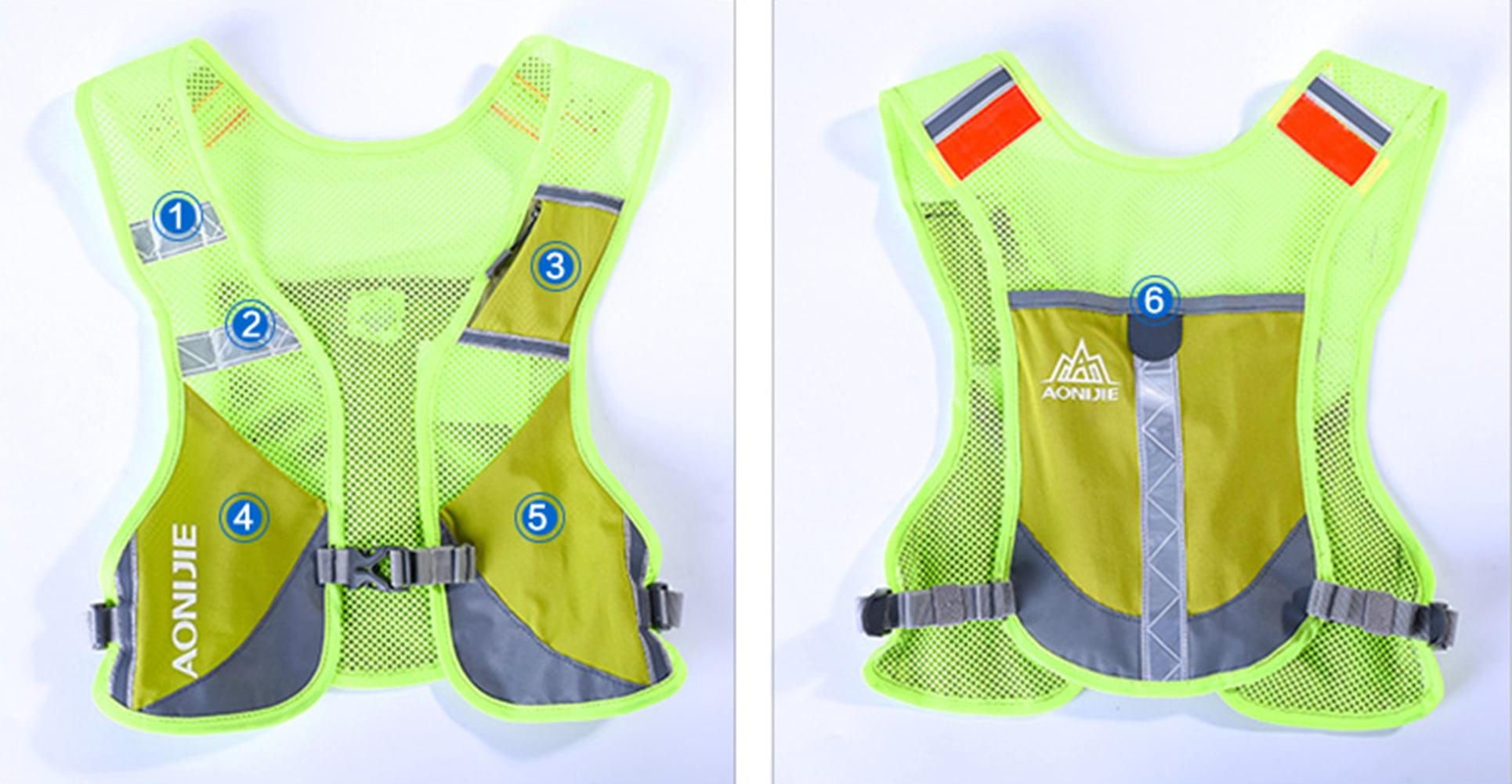 Reflective Marathoner Race Hydration Vest Color:Green by