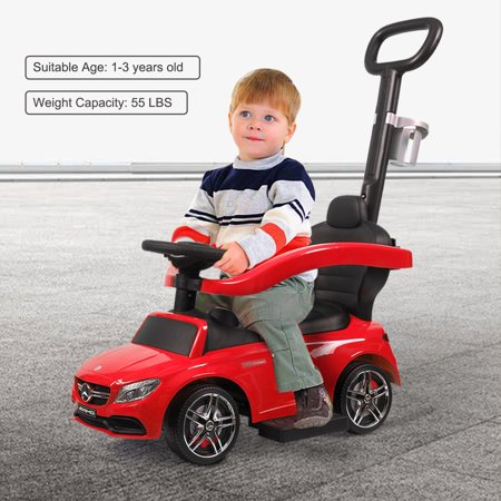 Jaxpety Mercedes Benz Kids Ride On Push Car Portable 3 in 1 Riding Push Car Toy Gift w/ push rod,
