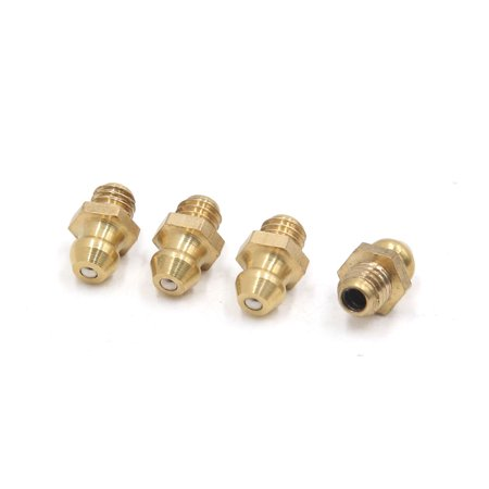 4 Pcs Brass M6 x 1mm Thread Straight Grease Zerk Nipple Fitting for