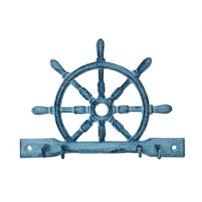 Handcrafted Model Ships K-718-dark-blue 8 inch Cast Iron Ship Wheel With Hooks - Rustic Dark Blue Whitewashed