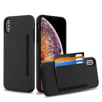 """Apple iPhone XS Max (6.5 inch) Wallet Phone Case Ultra Protective Cover with 3 Cedit Card ID Holder Slot [Slim] Heavy Duty Shockproof Hybrid Hard PC + TPU Armor BLACK Case for iPhone XS Max (6.5"""")"""
