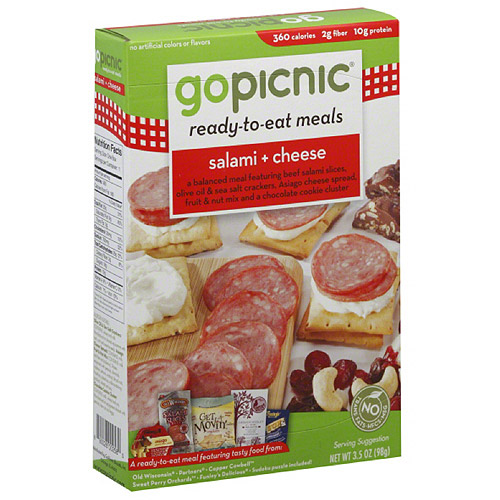 GoPicnic Salami & Cheese Ready-to-Eat Meal, 3.5 oz, (Pack of 6)