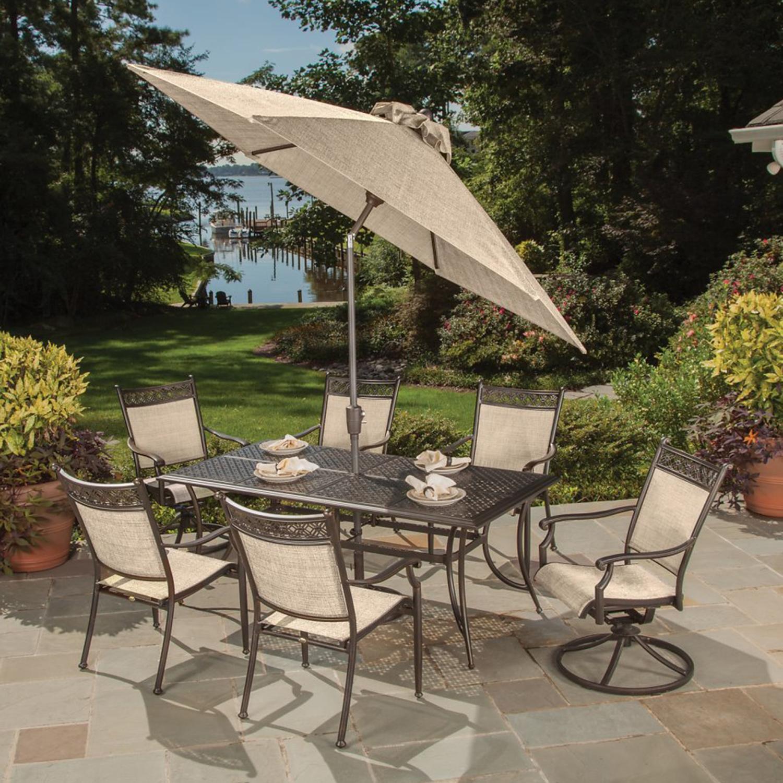 "72"" 9 Pc. Beautiful Aluminum Outdoor Patio Dining Set with Umbrella"