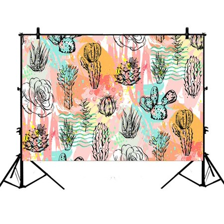 GCKG 7x5ft Cartoon Cactus Party Polyester Photography Backdrop Photo Background Studio Props - image 4 of 4
