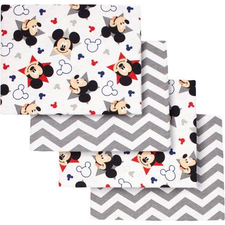 Disney Mickey Mouse Let's Go II Flannel Receiving Blankets, 4pk