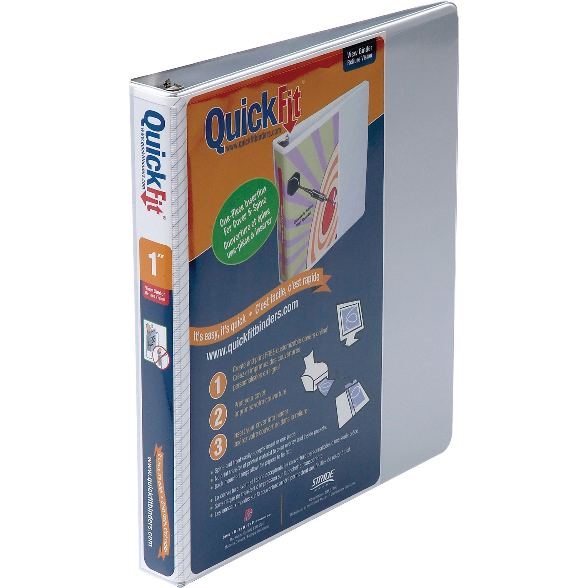 QuickFit, STW87010, D-Ring View Binders, 1 Each, White