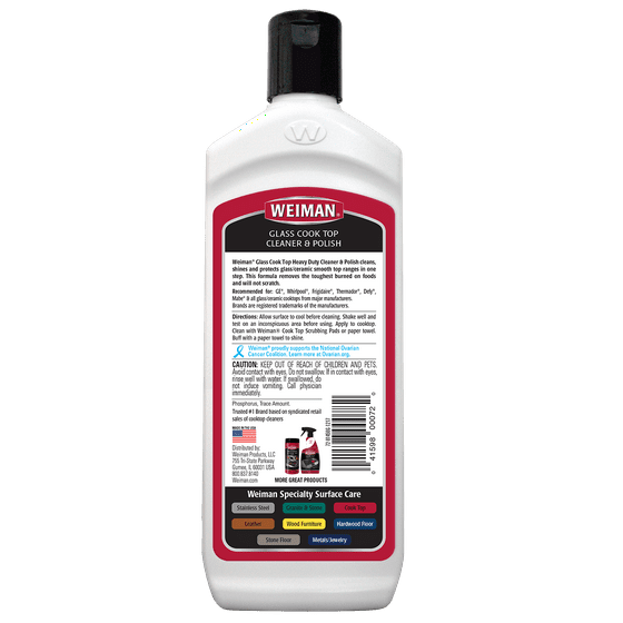 Weiman Gl Cooktop Heavy Duty Cleaner Polish Shines And Protects Ceramic Smooth Top Ranges With Its Gentle Formula 15 Ounce