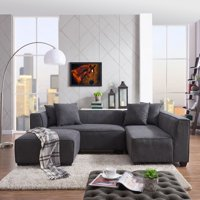 Homesvale Pershing Sectional Sofa with Ottoman in Plush Low-Pile Velvet
