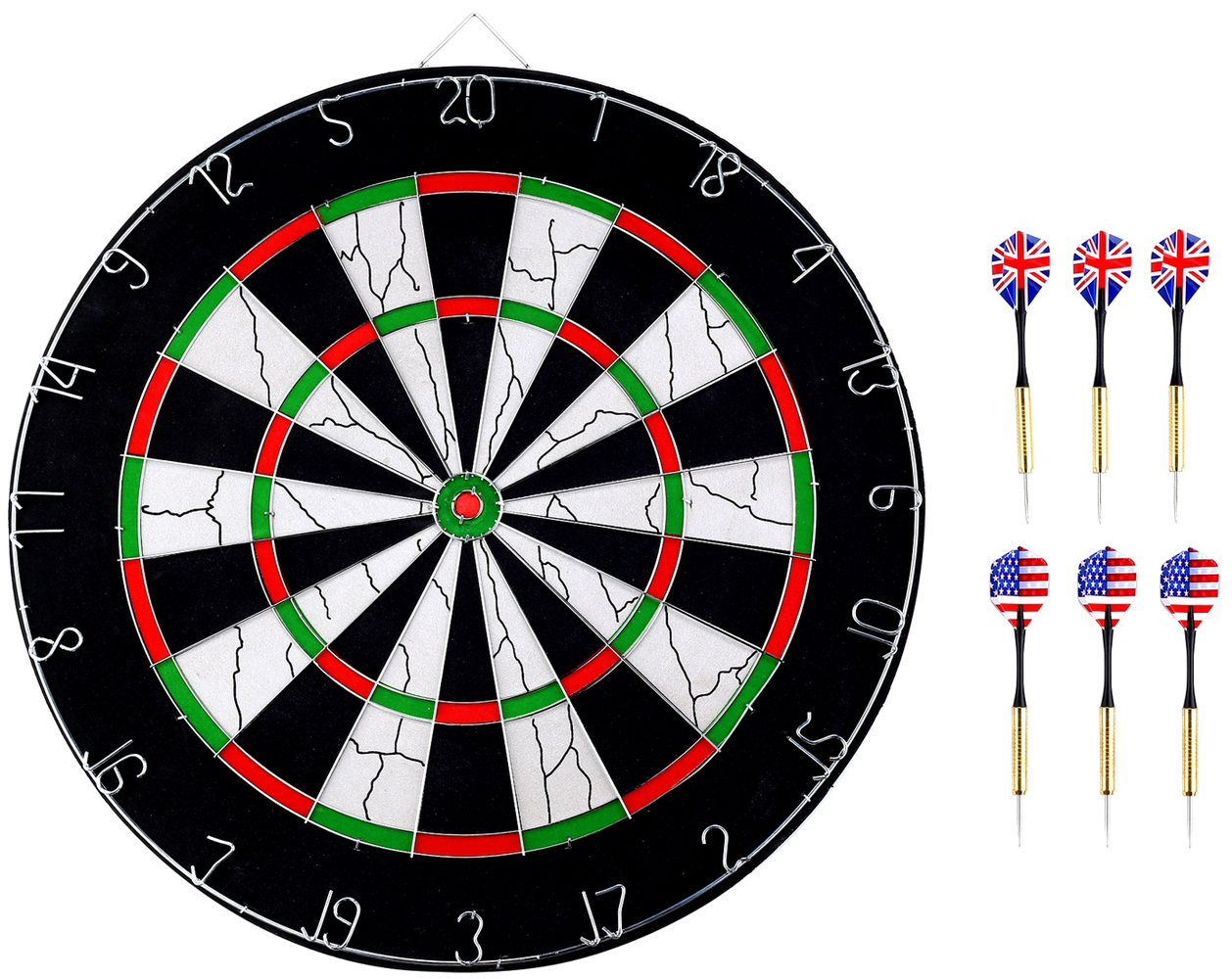 "Professional Dartboard with 6pcs Steel Tip Darts for Family Board Games (18""-BL18012) by Anleolife"