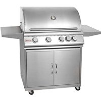 Blaze BLZ-4-LP + BLZ-4-CART Grill on Cart with 4 Commercial Quality 304 Cast Stainless Steel Burners 66 000 Total BTUs and 740 Square Inches of Total Cooking Space in Stainless Steel: Liquid Propane