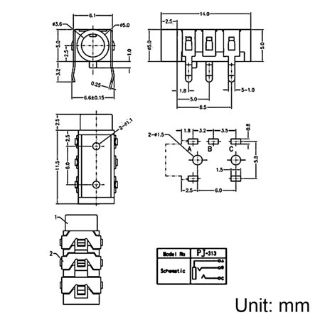 3.5 mm Audio Jack Connector PCB Mount Female Socket 5 Pin PJ-313 10pcs - image 1 de 4
