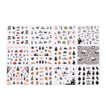 1pc/12sets Nail Manicure Decals Halloween Stickers Set Nail Art DIY Tools](Halloween Nails Tutorial)