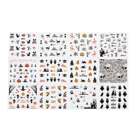 1pc/12sets Nail Manicure Decals Halloween Stickers Set Nail Art DIY Tools