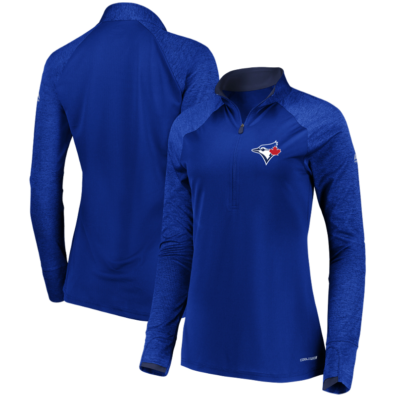 Toronto Blue Jays Majestic Women's Extremely Clear Cool Base Raglan 1 2-Zip Jacket Royal by MAJESTIC LSG