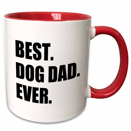 3dRose Best Dog Dad Ever - fun pet owner gifts for him - animal lover text - Two Tone Red Mug,