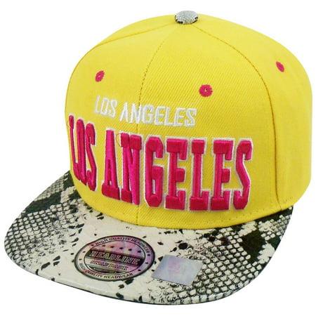 Animal Skin Hats (Los Angeles Animal Snake Skin Pleather Snapback Hat Cap Orange Pink)