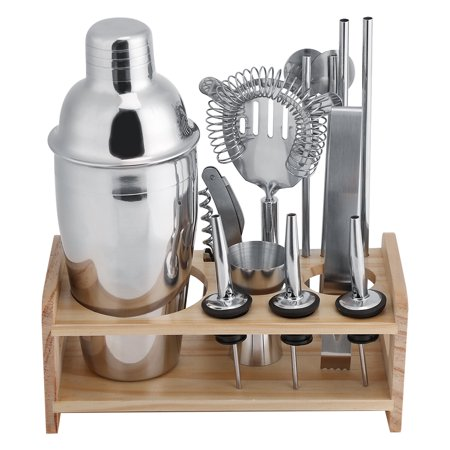 Cocktail Bar Set, Estink 12pcs Stainless Steel Cocktail Shaker Mixer Bartender Kit with Essential Barware Tools, 550mL Shaker, Ice Clip, Wine Plugs, Measuring Cups, Filter, Hippocampus Knife and Straw