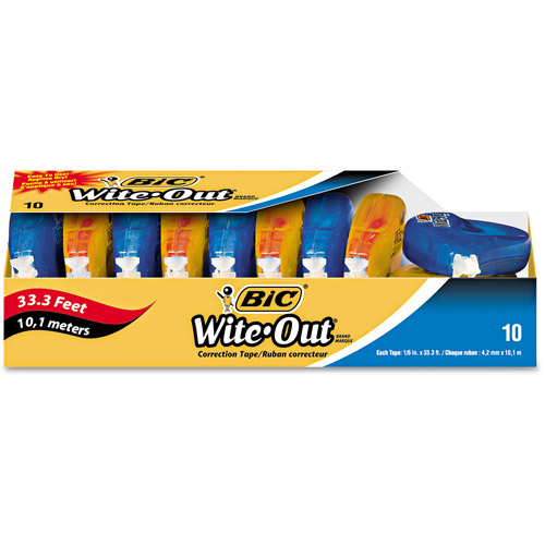 "BIC Wite-Out EZ Correct Correction Tape, Non-Refillable, 1/6"" x 472"", 10/Pack"