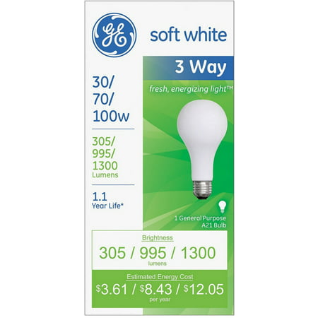 - 3 Pack - GE SoftWhite Light Bulb 3-Way 30/70/100 Watt 1 ea,