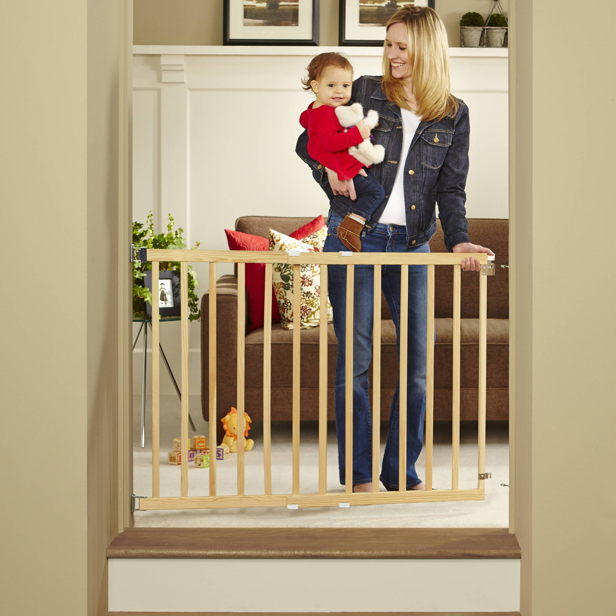 "North States Tall Stairway Swing Gate 28""-42"", Top of Stairs Baby Gate, Includes Mounting Kit, Natural Wood"