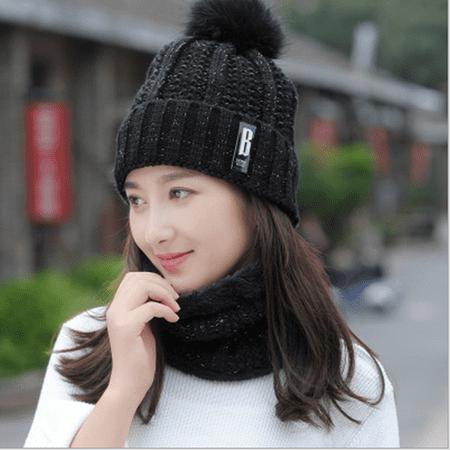 Women Winter Warm Hat Knitted Plush Ski Cap + Scarf Crochet Neck Warm Wrap Set Free Knitting Scarf