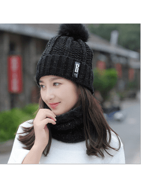 Women Winter Warm Hat Knitted Plush Ski Cap + Scarf Crochet Neck Warm Wrap Set