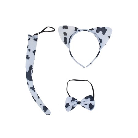 Lux Accessories Cow Print Cat Ears Tail Bowtie Costume Set Halloween Party Kit (Halloween Cat Print Out)
