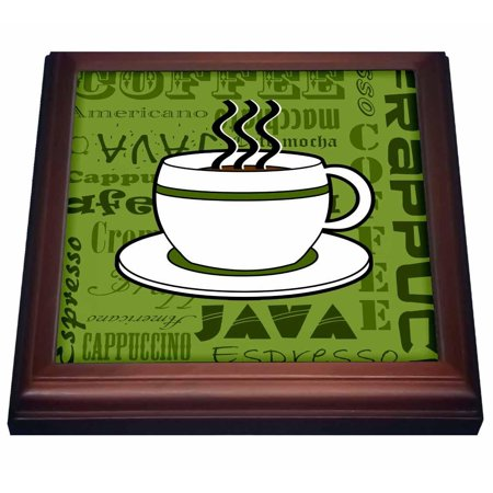 3dRose Coffee Lover Gift - Coffee Words Print - Green, Trivet with Ceramic Tile, 8 by 8-inch