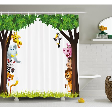 Nursery Shower Curtain, Big Trees and Friendly Jungle Safari Animals Wilderness Tropical African Wildlife, Fabric Bathroom Set with Hooks, Multicolor, by Ambesonne