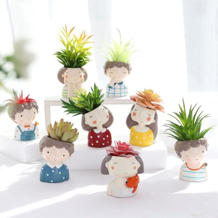 Succulent Plants Planter Pot Mini Couples Bonsai Cactus Flower Pot for Home Office Mall Decoration Fox Girl](Mini Flower Pots Bulk)