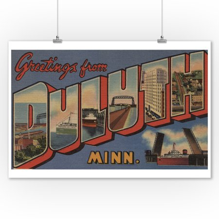 Greetings From Duluth  Minnesota  9X12 Art Print  Wall Decor Travel Poster
