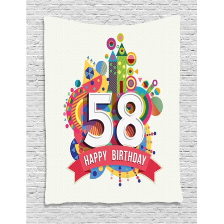 58th Birthday Decorations Tapestry, Abstract Style Geometric Circles Triangles Birth Wishes Pattern, Wall Hanging for Bedroom Living Room Dorm Decor, 40W X 60L Inches, Multicolor, by Ambesonne ()