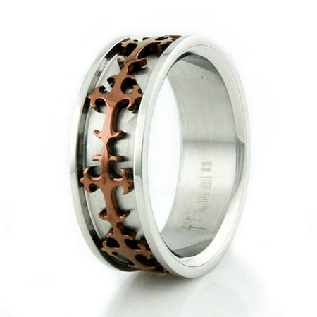 Two-Tone Stainless Steel Bronze Celtic Cross Wedding Band Ring