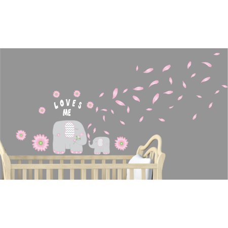 Pink Flowers and Elephant Wall Decals / Jungle Safari Nursery Wall