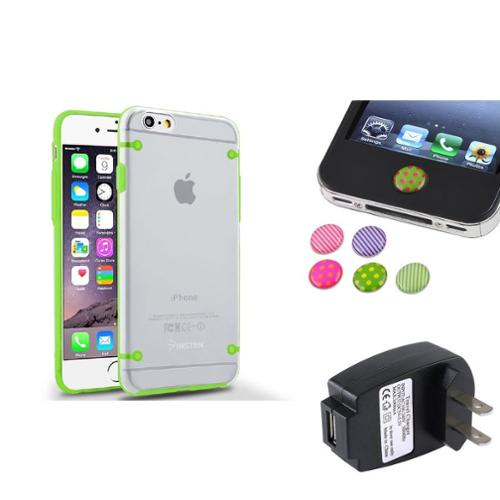 Insten Green Hybrid TPU Bumper Hard Case+Black AC Charger+Sticker For iPhone 6S 6