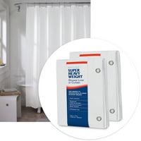 "2-Pack Maytex Super Heavyweight Premium 10-Gauge Shower Curtain or Liner 72"" x 72"", White"