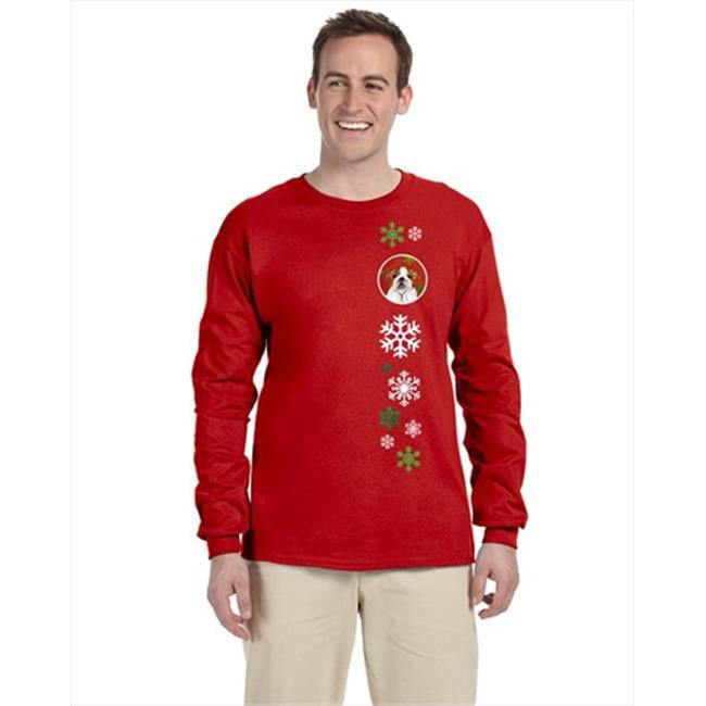 Carolines Treasures SS4691-LS-RED-L Bulldog English Red Snowflakes Long Sleeve Red Unisex Tshirt - Adult Large - image 1 de 1