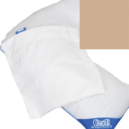 L-shaped Pillow (Contour Products Deluxe L Shaped Pillow Cover Soft Durable 100% Cotton Beige )