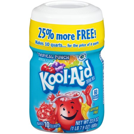 Kool-Aid Tropical Punch Drink Mix 23.9 oz. Canister - Halloween Alcoholic Drink Mixes