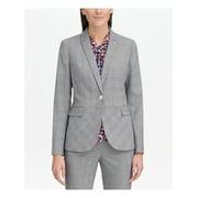 TOMMY HILFIGER Womens Gray Plaid Blazer Wear To Work Jacket  Size: 12